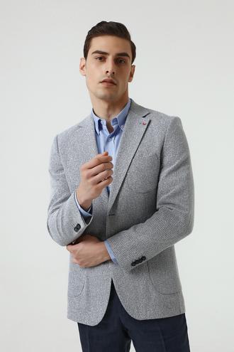 Ds Damat Slim Fit Lacivert Bukle Kumaş Ceket - 8682060453679 | D'S Damat