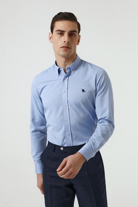 Ds Damat Slim Fit Mavi Oxford Gömlek - 8682445130263   D'S Damat