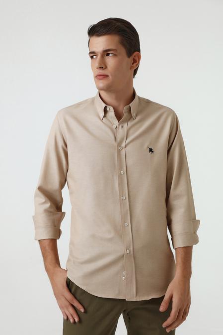 Ds Damat Slim Fit Bej Oxford Gömlek - 8682445130355   D'S Damat