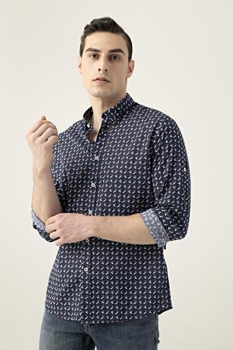 Tween Slim Fit Lacivert Desenli Vual Gömlek - 8681649876632   D'S Damat