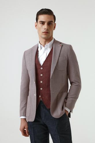 Ds Damat Slim Fit Kırmızı Armürlü Kombinli Takım Elbise - 8682060496874 | D'S Damat