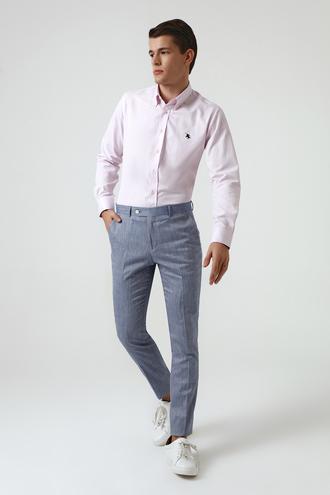 Twn Mavi Armürlü Keten Kumaş Pantolon - 8681779797364 | D'S Damat