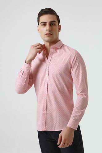 Twn Slim Fit Kırmızı Baskılı Gömlek - 8682060350091 | D'S Damat