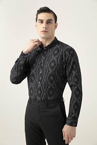 Tween Slim Fit Siyah Desenli Gömlek - 8681649706038 | Damat Tween