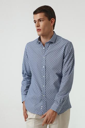 Twn Slim Fit Lacivert Baskılı Gömlek - 8682060352200   D'S Damat