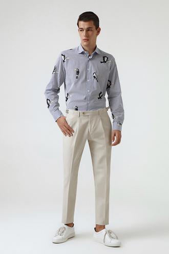Twn Bej Düz Keten Kumaş Pantolon - 8681779299363 | D'S Damat