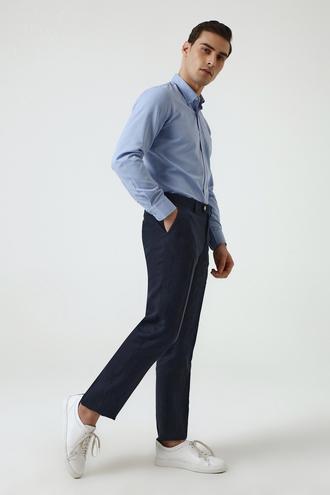 Ds Damat Slim Fit Lacivert Armürlü Keten Kumaş Pantolon - 8681779334101 | D'S Damat