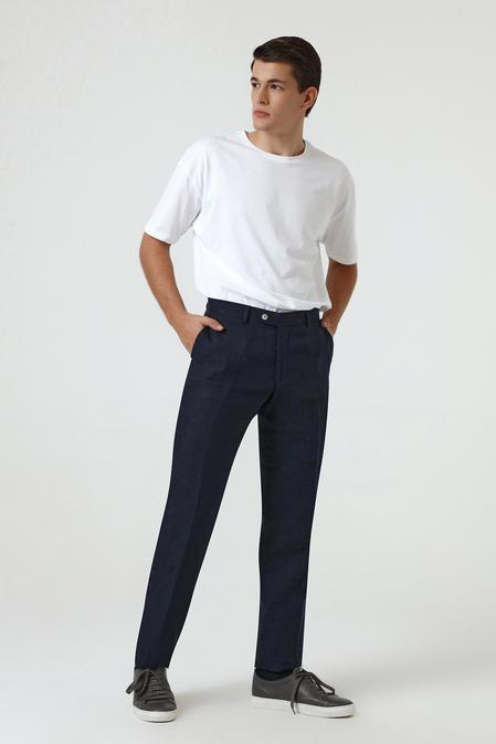 Ds Damat Slim Fit Lacivert Armürlü Keten Kumaş Pantolon - 8681779334286 | D'S Damat