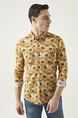 Tween Slim Fit Sarı Desenli Gömlek - 8681649468318 | D'S Damat
