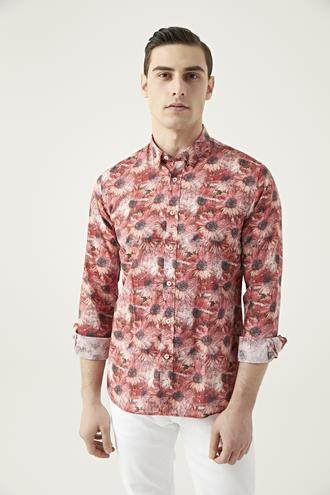 Tween Slim Fit Kırmızı Desenli Gömlek - 8681649468363 | D'S Damat