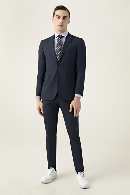 Tween Slim Fit Lacivert Düz Takım Elbise - 8682364641208   Damat Tween