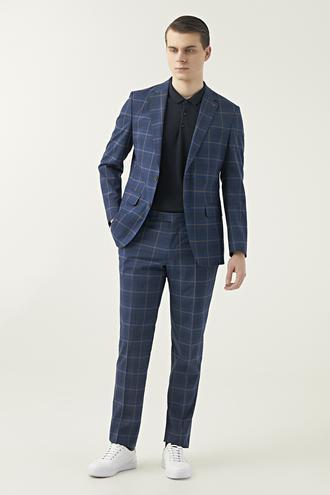 Ds Damat Slim Fit Saks Mavi Ekoseli Takım Elbise - 8682060897930 | D'S Damat