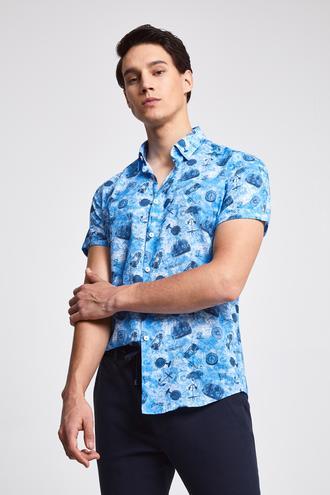 Twn Slim Fit Mavi Baskılı Vual Gömlek - 8682060912541 | D'S Damat