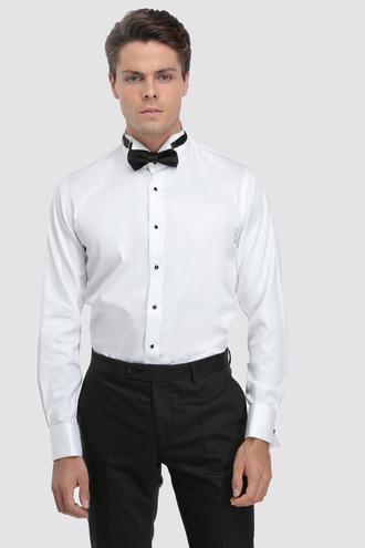 Ds Damat Slim Fit Beyaz Düz Smokin Gömlek - 8682445241051 | D'S Damat