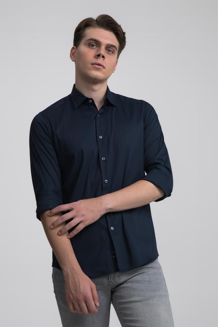 Twn Slim Fit Lacivert Düz Stretch Gömlek - 8682445302011 | D'S Damat