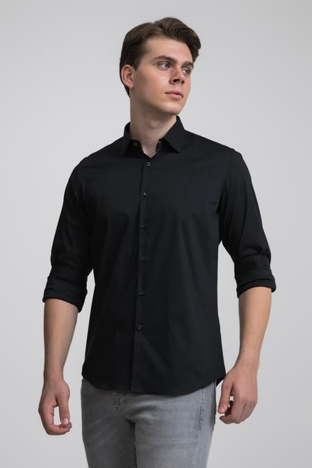 Twn Slim Fit Siyah Düz Stretch Gömlek - 8682445302769 | D'S Damat