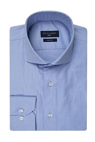 Ds Damat Slim Fit Mavi Armürlü Gömlek - 8682445312522 | D'S Damat