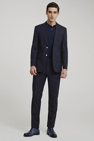 Ds Damat Slim Fit Lacivert Kareli Takım Elbise - 8682060412515 | D'S Damat