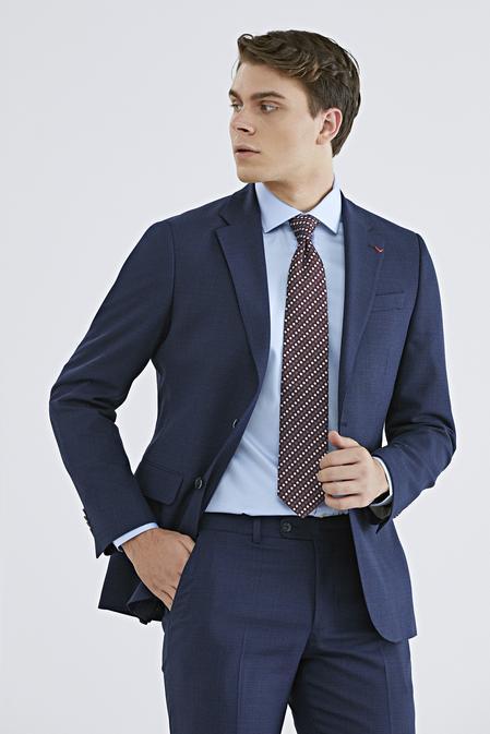 Ds Damat Slim Fit Lacivert Armürlü Takım Elbise - 8682445305333 | D'S Damat