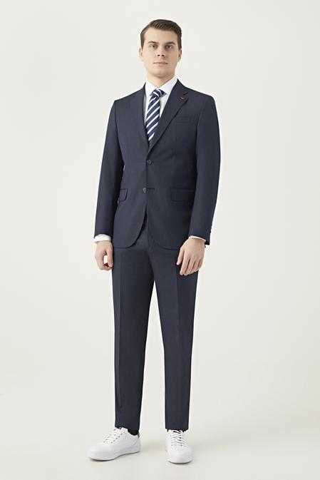 Ds Damat Slim Fit Lacivert Düz Takım Elbise - 8682445184815 | D'S Damat