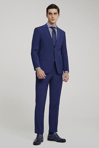 Ds Damat Slim Fit Saks Mavi Düz Travel Takım Elbise - 8682445054576 | D'S Damat