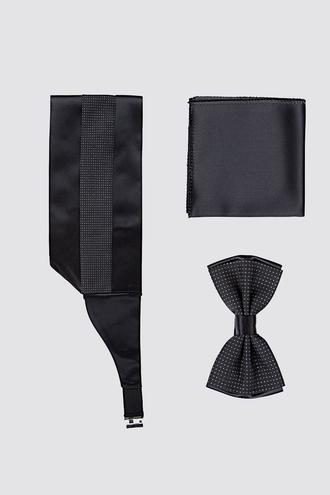 Ds Damat Siyah Düz Kusak-papyon-mendil Set - 8682445240511 | D'S Damat