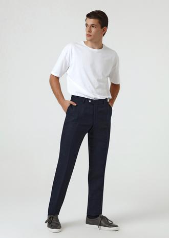 Ds Damat Slim Fit Lacivert Armürlü Keten Kumaş Pantolon - 8681779862949 | D'S Damat