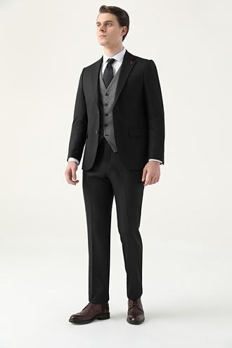 Ds Damat Slim Fit Siyah Armürlü Kombinli Takım Elbise - 8682445180299 | D'S Damat