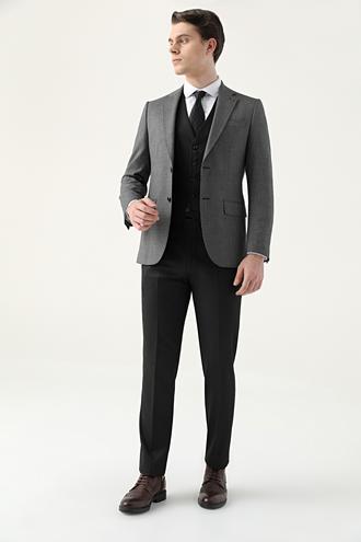 Ds Damat Slim Fit Siyah Armürlü Kombinli Takım Elbise - 8682445181296 | D'S Damat