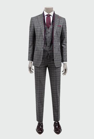 Ds Damat Slim Fit Slim Fit Antrasit Ekoseli Yelekli Takım Elbise - 8681778569443 | D'S Damat