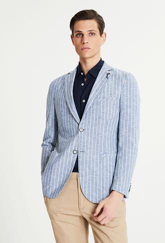 Tween Slim Fit Mavi Çizgili Kumaş Ceket - 8681649898184   Damat Tween
