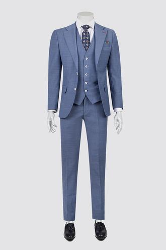 Ds Damat Slim Fit Slim Fit Mavi Yelekli Takım Elbise - 8681779217947   D'S Damat