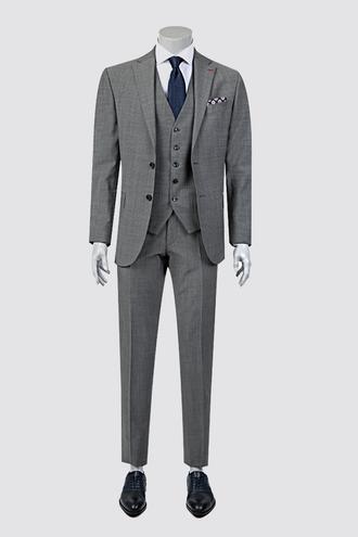 Ds Damat Regular Fit Slim Fit Gri Armürlü Yelekli Takım Elbise - 8681778110072 | D'S Damat