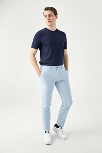 Ds Damat Slim Fit Mavi Armürlü Chino Pantolon - 8681778933428 | D'S Damat