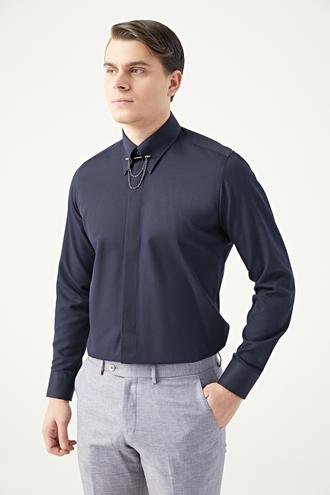 Twn Slim Fit Lacivert Armürlü Yaka İğneli Gömlek - 8682445481013 | D'S Damat