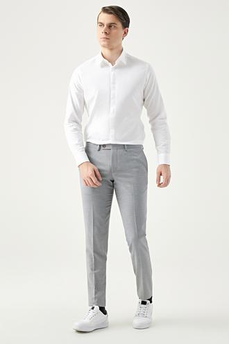 Twn Slim Fit Bej Armürlü Kumaş Pantolon - 8682060352873 | D'S Damat