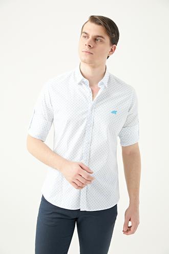 Twn Slim Fit Beyaz Baskılı Gömlek - 8681778877593 | D'S Damat
