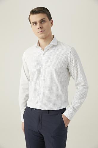 Ds Damat Slim Fit Beyaz Baskılı Gömlek - 8682445199475 | D'S Damat