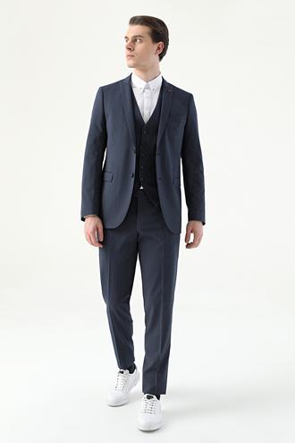 Twn Slim Fit Lacivert Çizgili Yelekli Takım Elbise - 8682445183597 | D'S Damat