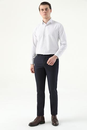 Twn Slim Fit Lacivert Armürlü Kumaş Pantolon - 8682445172584 | D'S Damat