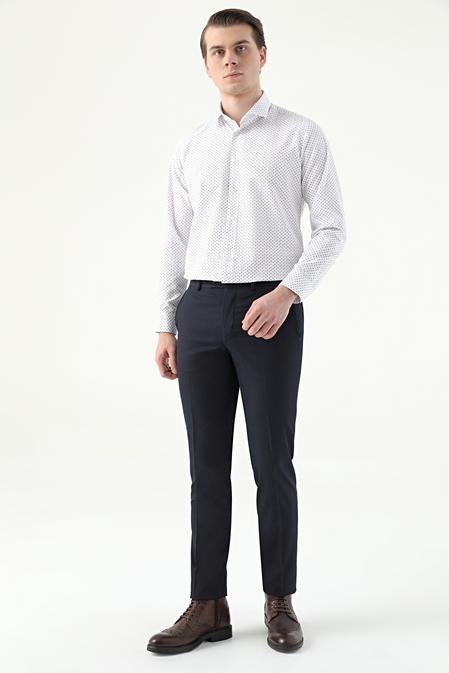 Twn Slim Fit Lacivert Armürlü Kumaş Pantolon - 8682445172584   D'S Damat