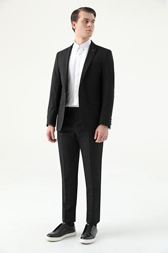 Twn Slim Fit Siyah Armürlü Takım Elbise - 8682445172751 | D'S Damat
