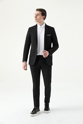Twn Slim Fit Siyah Armürlü Takım Elbise - 8682445173321 | D'S Damat