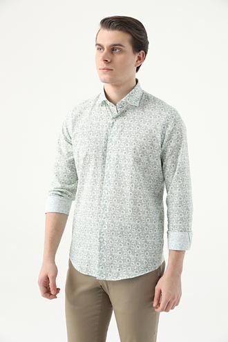 Ds Damat Slim Fit Yeşil Baskılı Gömlek - 8682445291476 | D'S Damat