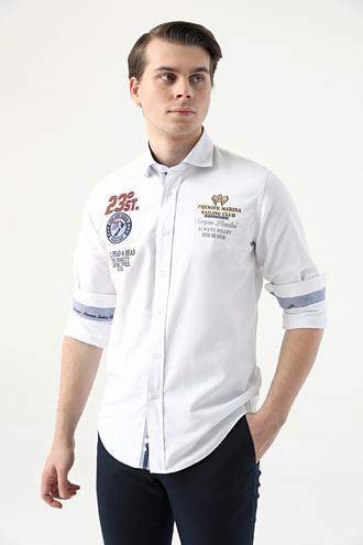 Ds Damat Slim Fit Beyaz Düz Gömlek - 8682445310634 | D'S Damat