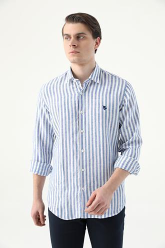 Ds Damat Slim Fit Beyaz Çizgili Keten Gömlek - 8682445332476 | D'S Damat