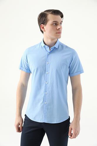 Twn Slim Fit Mavi Düz Gofre Gömlek - 8682445332629 | D'S Damat