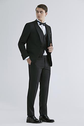 Twn Slim Fit Siyah Smokin Yelekli Takım Elbise - 8682445233360 | D'S Damat