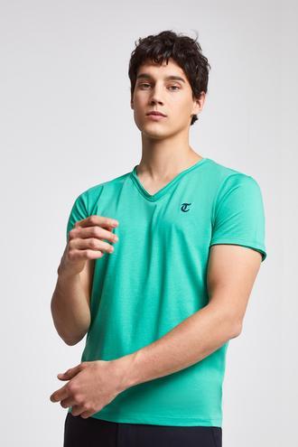 Twn Slim Fit Yeşil Düz T-shirt - 8682445308396 | D'S Damat