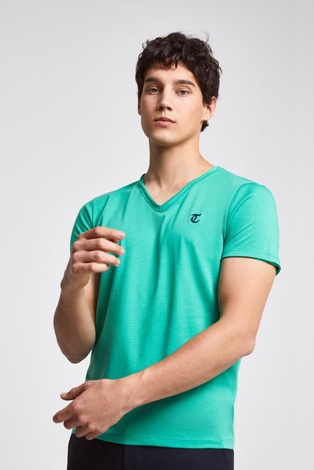 Twn Slim Fit Yeşil Düz T-shirt - 8682445308396   D'S Damat